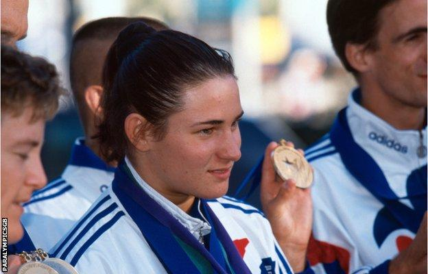 Sarah Bailey - as she then was - pictured with members of the Great Britain squad at the 1996 Paralympics in Atlanta, where. aged 18, she won three gold medals in swimming