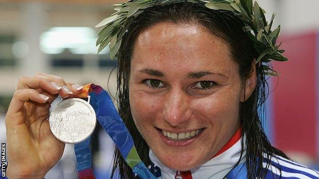 Sarah Storey with a silver medal at the Athens 2004 Paralympics