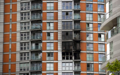 Fire at New Providence Wharf in Poplar, East London